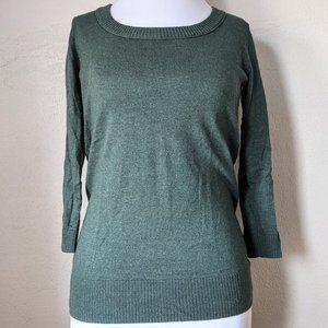 GAP Moss Green Sweater 3/4 Sleeve Scoopneck